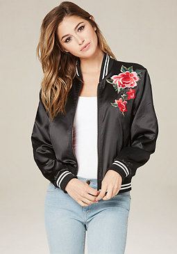 bebe Floral Patch Bomber Jacket