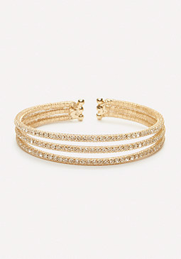 bebe Crystal Triple Row Cuff
