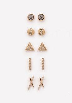 Geometric Stud Earring Set