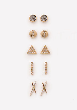 bebe Geometric Stud Earring Set