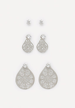 bebe Stud & Filigree Earring Set