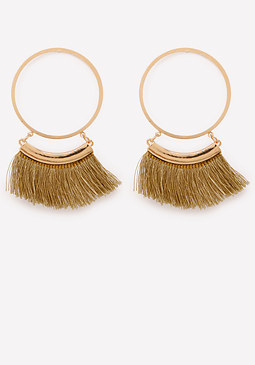 bebe Tassel Trim Hoop Earrings