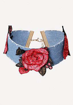 bebe Embroidered Denim Choker