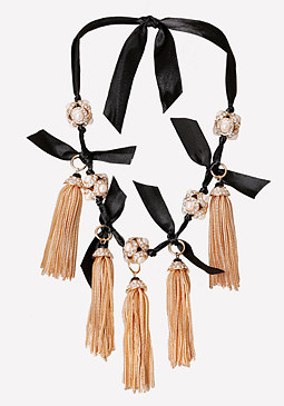 bebe Tassel Ribbon Necklace