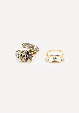 bebe Lion Cocktail Ring Set