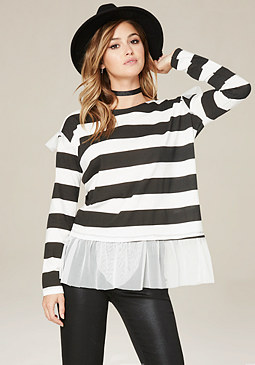 bebe Tulle Trim Striped Tee
