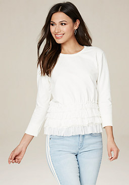bebe Ruffled Jersey Top