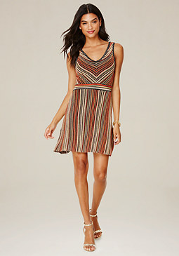 bebe Striped Flared Dress