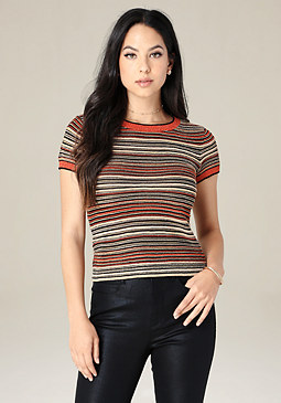 bebe Striped Knit Ringer Tee