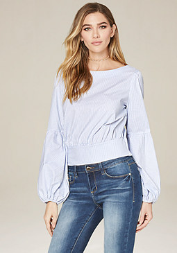 bebe Striped Dramatic Sleeve Top