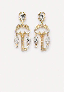 bebe Crystal Key Drop Earrings