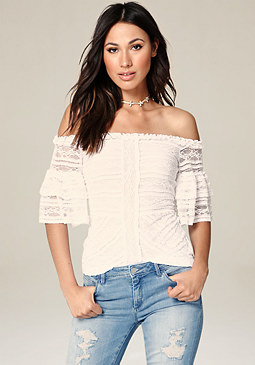 bebe Lace Tiered Sleeve Top