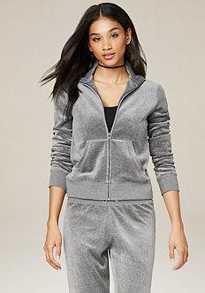 Charcoal Velour Zip Jacket
