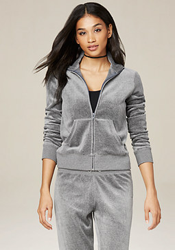 bebe Charcoal Velour Zip Jacket
