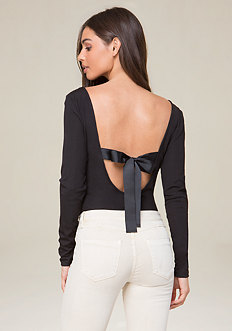 Back Ribbon Tie Bodysuit