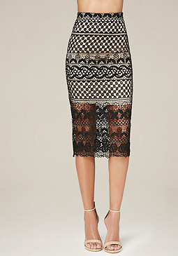 bebe Crochet Lace Midi Skirt