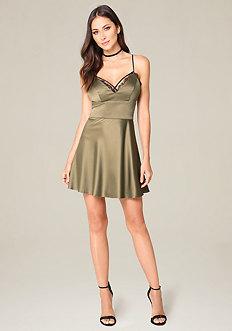 Lace Trim Fit & Flare Dress