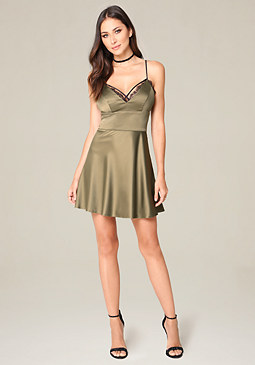 bebe Lace Trim Fit & Flare Dress