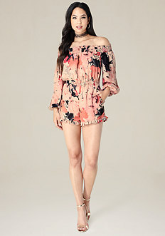 Print Off Shoulder Romper