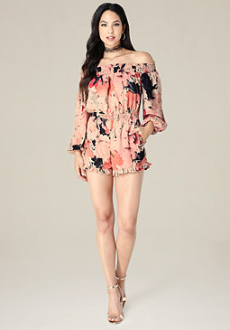 bebe Print Off Shoulder Romper