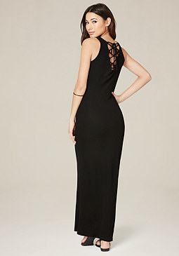 bebe Lace Up Tank Maxi Dress