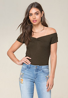 Lace Trim Ribbed Top