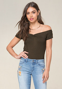 bebe Lace Trim Ribbed Top