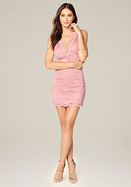 bebe Lace & Mesh Deep V Dress