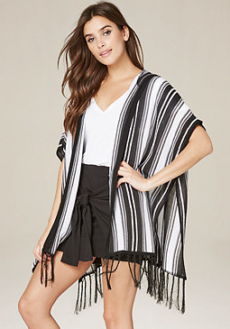bebe Striped Hooded Ruana