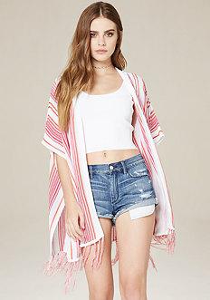 Striped Hooded Ruana