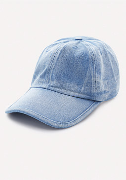 bebe Washed Denim Baseball Cap