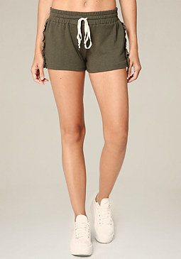 bebe Ruffled Drawstring Shorts