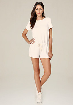 bebe Open Back Drawstring Romper