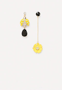 bebe Mismatched Ladybug Earrings