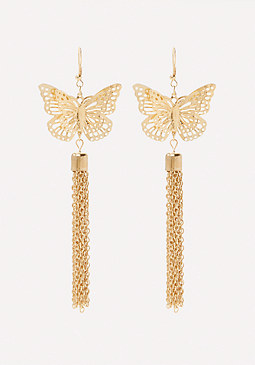bebe Butterfly Tassel Earrings