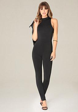 bebe Black Exposed Jumpsuit