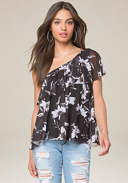 bebe Mesh One Shoulder Top