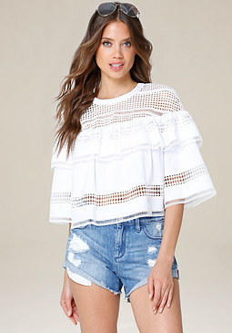 bebe Lace Trim Poplin Top