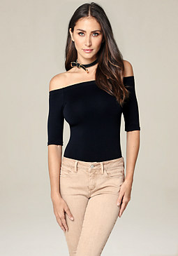 bebe Off Shoulder Bodysuit
