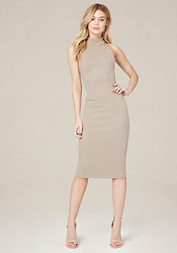 Faux Suede Midi Dress at bebe
