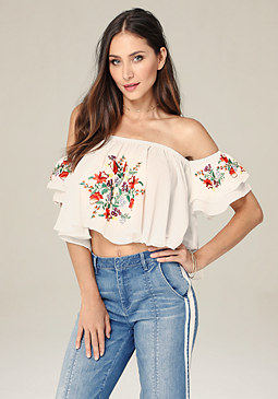 bebe Embroidered Swing Top