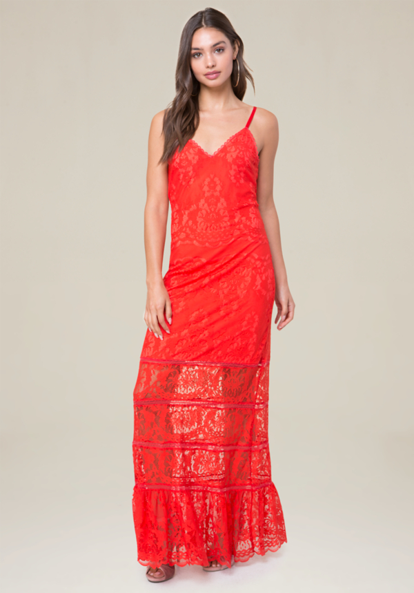 Alyssa Eyelash Lace Gown at bebe in Sherman Oaks, CA | Tuggl