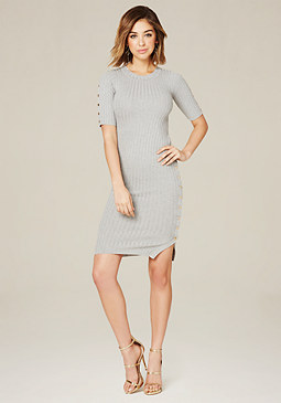 bebe Side Snap Rib Knit Dress