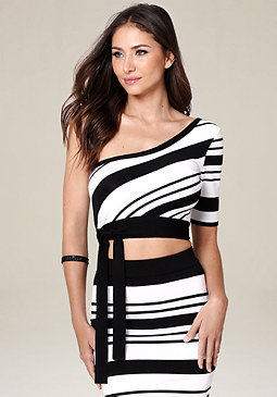 bebe One Shoulder Crop Top