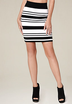 bebe Striped Miniskirt