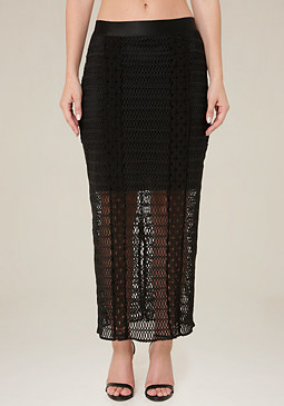 bebe Lace Bodycon Maxi Skirt
