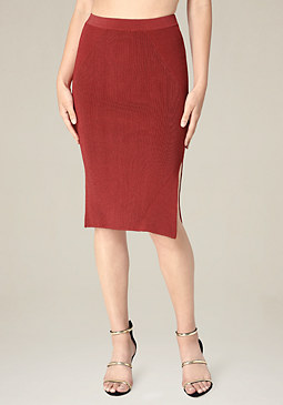 bebe Ribbed Midi Skirt