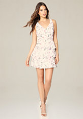 bebe Print Ruffle Tiered Dress