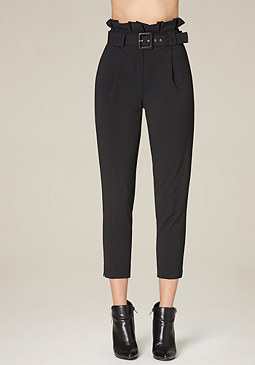 bebe Belted Crop Paper Bag Pants
