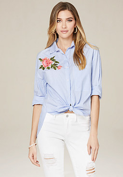 bebe Embroidered Pinstripe Top